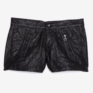 Rag & Bone x intermix quilted black leather shorts